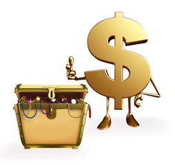 Dollar Character with treasure box