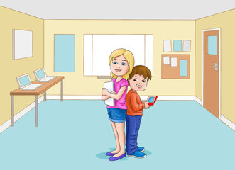 Boy and girl in Classroom with ipad etc