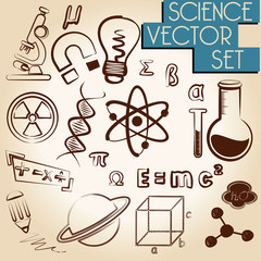science icons vector set in another design effect vector