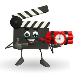Clapper Board Character with time bomb