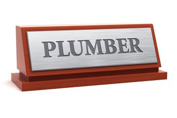 Plumber job title on nameplate