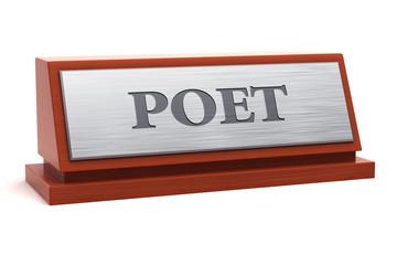 Poet job title on nameplate