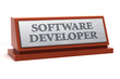 Постер, плакат: Software developer job title on nameplate