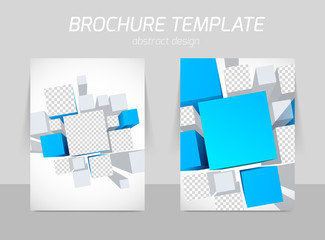 Brochure template with blue squares