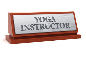 Yoga instructor job title on nameplate