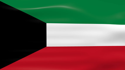 Waving Kuwait Flag, ready for seamless loop.