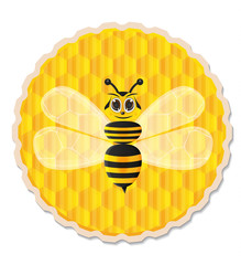 Honey bee with honey comb background