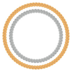 Figured gold and silver chain - round frame.