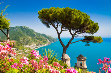 Postcard view of Amalfi Coast, Ravello, Campania, Italy