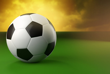 3d soccer ball on green and yellow background
