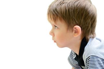 portrait of a little boy in profile