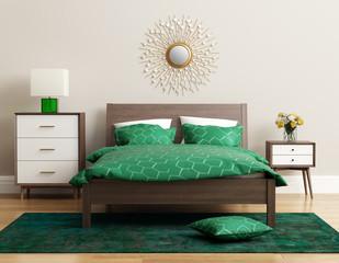 Contemporary elegant green bedroom with eug