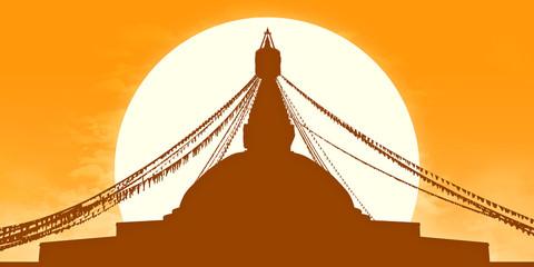 golden Boudhanath Stupa silhouette