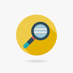 Magnifying Glass Flat style Icon with long shadows