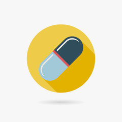 Pills Flat style Icon with long shadows