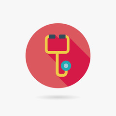stethoscope Flat style Icon with long shadows