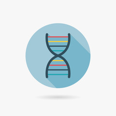 DNA Flat style Icon with long shadows