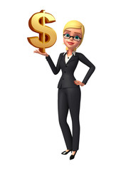 Young Business Woman with dollar sign