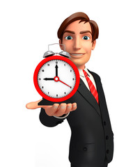 Young Business Man with table clock