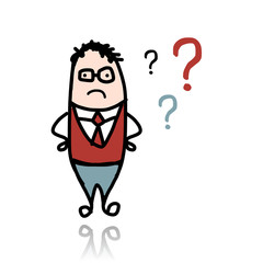 Businessman and question marks, sketch for your design
