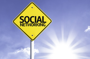 Social Networking road sign with sun background