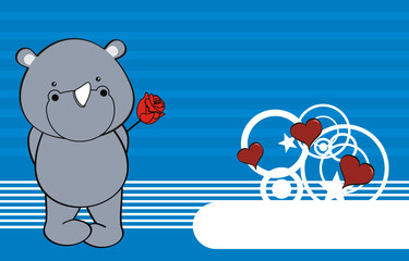 rhino baby cartoon love rose background