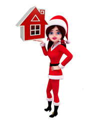 Santa Girl Character with home sign