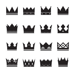 vector black set of crowns