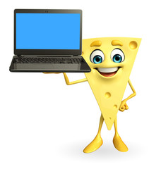 Cheese Character with laptop