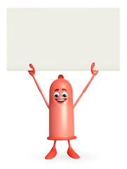 Condom Character with sign