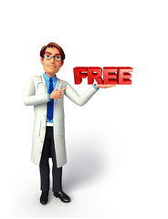 Young Doctor with free sign