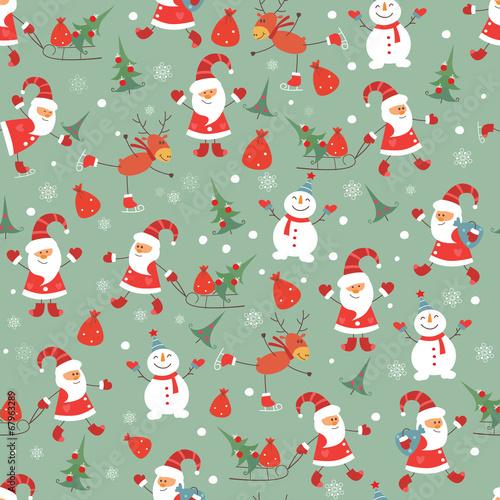 Materiał do szycia Vintage Boże Narodzenie bezszwowe wzór
