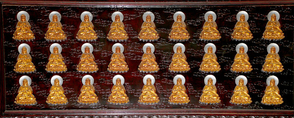 Buddhist Temple. Golden statue of Buddha-- southern Xian