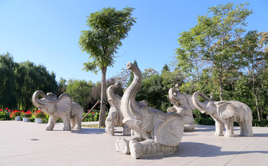 Sculptures of elephants, in Beijing Zoo, Beijing, China