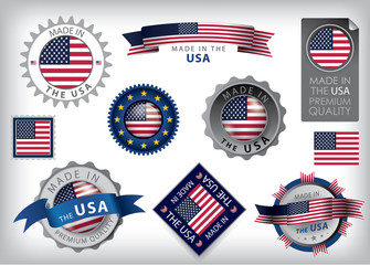 Made in the USA seals, United States Flag, American