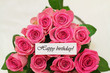 Happy birthday card with pink roses with glitter