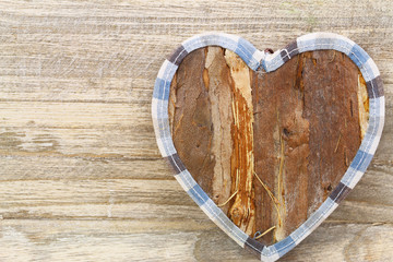 Wooden heart with copy space