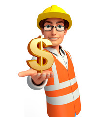 Young worker with dollar sign