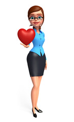Young office girl with heart