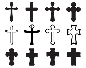 Black silhouettes of different crosses, vector