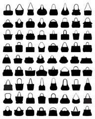 Black silhouettes of women's handbags, vector illustration