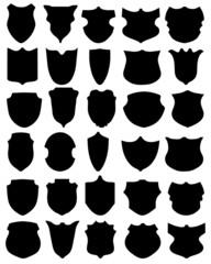Black silhouettes of shields on a white background 2, vector