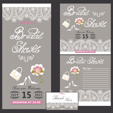 Fototapety Bridal shower design  template with Paisley border.eps