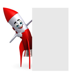 Rocket character with sign