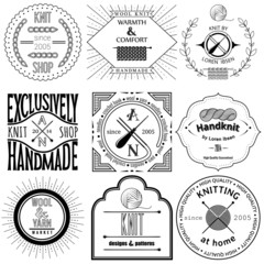 Set of vintage knitting labels, badges and design elements