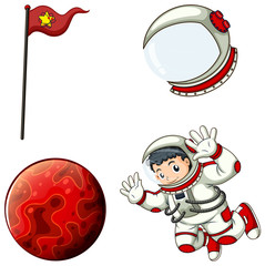 An astronaut, a helmet, a banner and a planet