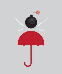 Bomb shielded by red umbrella