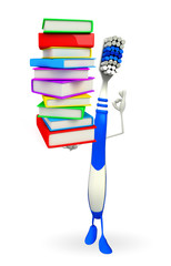 Toothbrush Character with Books pile
