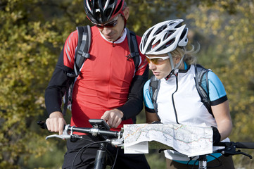 Mountainbike search the ride with navigation