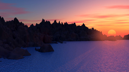 3D mountain landscape with sunset
